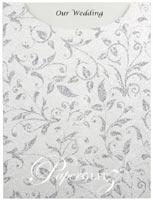 Glamour Pocket C6 - Glitter Print Enchanting White Pearl & Silver Glitter