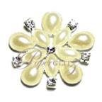 Diamante & Pearl Cluster - Flower Ivory - Large