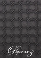 Glamour Pocket 150mm Square - Embossed Cross Stitch Black Pearl