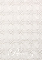 Glamour Pocket 150mm Square - Embossed Cross Stitch White Pearl