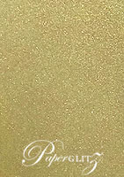 14.5cm Square Flat Card - Crystal Perle Metallic Antique Gold