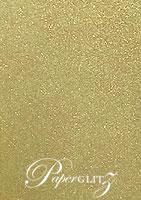 14.5cm Square Flat Card - Crystal Perle Metallic Antique Gold