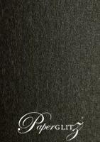 Crystal Perle Metallic Licorice Black 125gsm Paper - DL Sheets