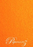 14.5cm Square Flat Card - Crystal Perle Metallic Orange