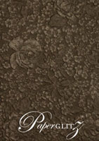 Handmade Embossed Paper - Embossed Flowers Chocolate Pearl Full Sheet (56x76cm)