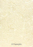 Glamour Pocket 150mm Square - Embossed Flowers Ivory Pearl