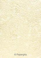 Handmade Embossed Paper - Embossed Flowers Ivory Pearl Full Sheet (56x76cm)