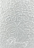 Handmade Embossed Paper - Embossed Flowers White Matte Full Sheet (56x76cm)