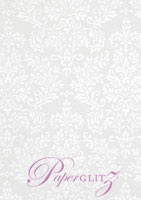 Handmade Embossed Paper - Embossed Grace White Pearl Full Sheet (56x76cm)