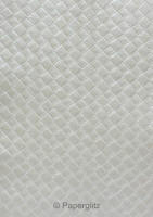 Handmade Embossed Paper - Leatherette Silver Pearl Full Sheet (Special Size 66x66cm)