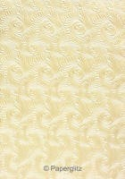 Handmade Embossed Paper - Majestic Swirl Ivory Pearl A4 Sheets