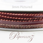 3mm Satin Ribbon - Double Sided 25Mtr Roll - Burgundy with Gold Edge