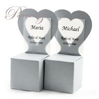 Chair Box - Heart - Crystal Perle Metallic Steele Silver