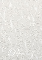 Handmade Embossed Paper - Tuscany White Pearl A4 Sheets