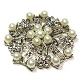 Brooch - Pearls & Diamante Flower