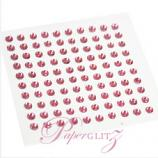 Self-Adhesive Diamantes - 3mm Round Rose Pink - Sheet of 100