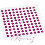 Self-Adhesive Diamantes - 3mm Round Fuchsia - Sheet of 100