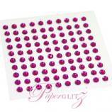 Self-Adhesive Diamantes - 3mm Round Fuchsia - Sheet of 100