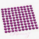 Self-Adhesive Diamantes - 4mm Round Violet - Sheet of 100