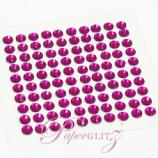 Self-Adhesive Diamantes - 4mm Round Fuchsia - Sheet of 100