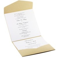 Wedding Invitation - 150 Pouch Pocket Fold in Kraft with Brooch - Inside View
