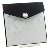 Wedding Invitations 150 Pouch Pocket Fold Licorice Black Autumn White Pearl