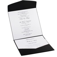 Wedding Invitations 150 Pouch Pocket Fold Licorice Black Autumn White Pearl - Inside View