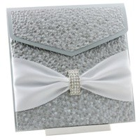 Wedding Invitations 150 Pouch Pocket Fold Silver Pebbles Arch Buckle