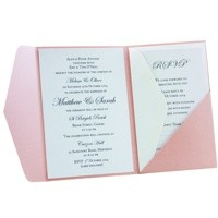 Christening Invitations A6 Folio Pocket Fold Vertical Pastel Pink Inside View