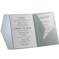 Wedding Invitations A6 Folio Pocket Fold Vertical Silver Steele - Inside View