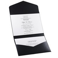 Wedding Invitation - C6 Pouch Pocket Fold in Glittering Black with Charlyse - Inside View