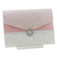 Wedding Invitations C6 Pouch Pocket Fold Pastel Pink Charlyse Pebbles