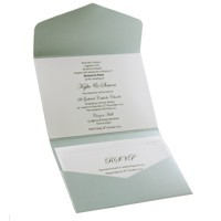 Wedding Invitations C6 Pouch Pocket Fold Silver - Inside View