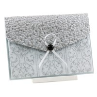 Wedding Invitations C6 Pouch Pocket Fold Silver Steele Damask Pebbles
