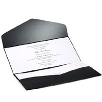 Wedding Invitations DL Pouch Pocket Fold Glittering Black Serenity - Inside View