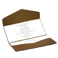 Wedding Invitations DL Pouch Pocket Fold Bronze Embossed Ivory Flowers - Inside View