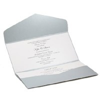 Wedding Invitations DL Pouch Pocket Fold Steele Silver Tuscany - Inside View